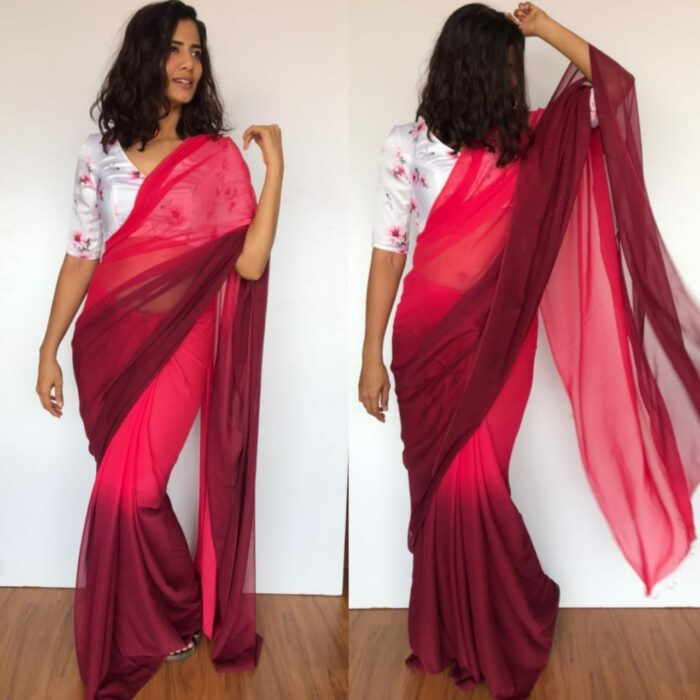 Strawberry Pink Dual Shaded Georgette Saree