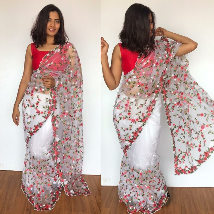 White Designer Net Saree with Floral Embroidery