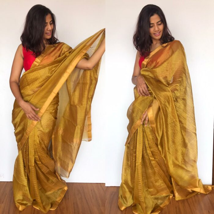 Mustard Mangalagiri Silk Saree handmade with silk border