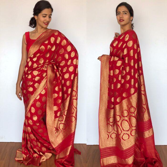 Scarlet Red Banarasi Silk Saree in Georgette adorned with Gold Zari Motifs