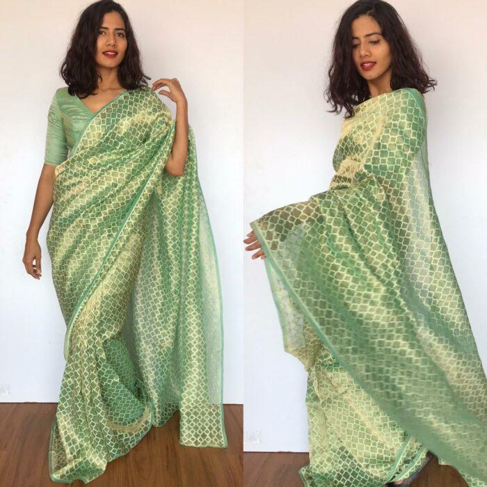 Sea Green Tissue Silk Saree with Zari Weaves