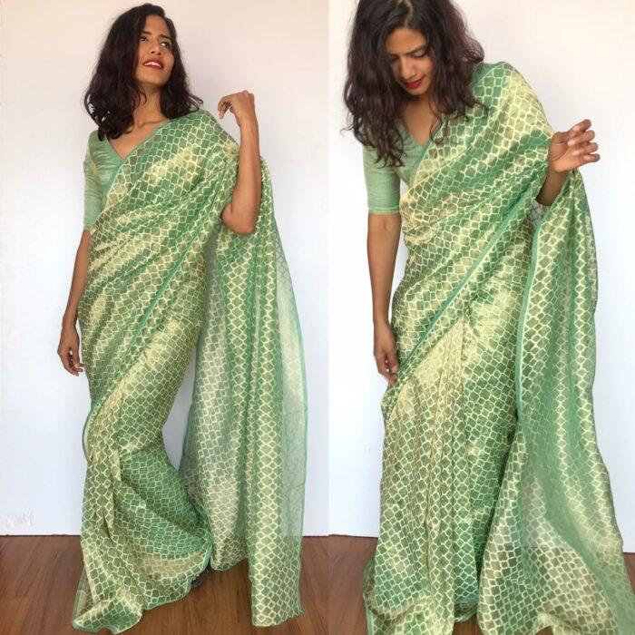 Mint green Chiniya silk saree