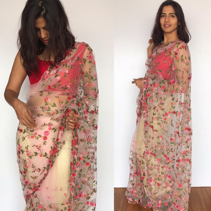 Pink Designer Net Saree with Floral Embroidery