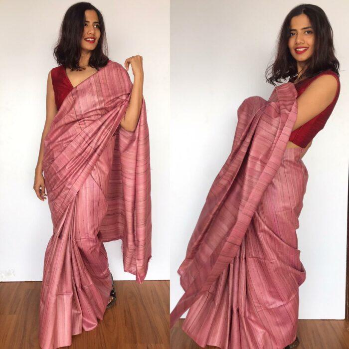 Dusty Pink Handwoven Tussar Silk Saree