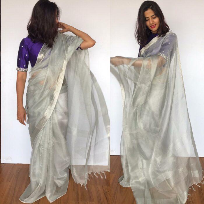 Silver Tissue Silk Saree with Silver Zari Weaves