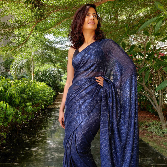 Navyblue Georgette Saree with Embroidered Sequins