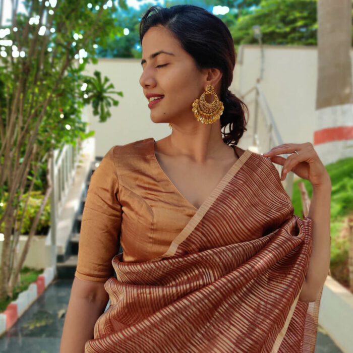 Maroon Organza Silk Saree with Gold Zari Stripes