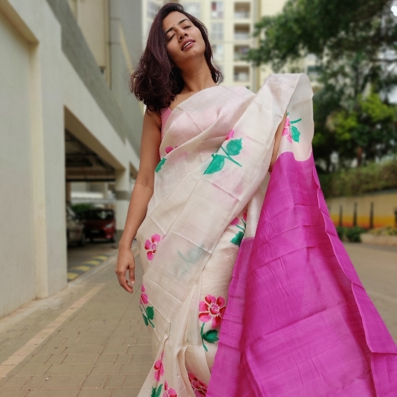 Ivory Pure Silk Saree with Printed Florals