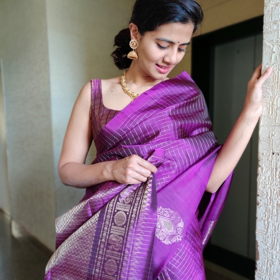 Purple Kanjivaram Silk Saree with Silver Zari Checks