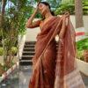 Maroon Pure silk Organza Saree with Gold Zari Stripes