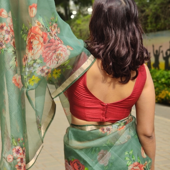 Forest Green Kota Silk Saree with Prints