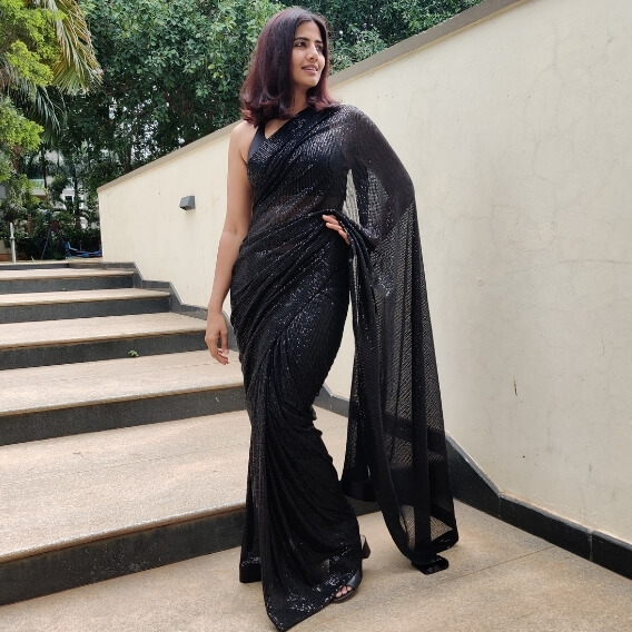 Black Georgette Saree with Embroidered Sequins