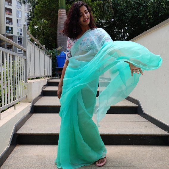 Mint Ombre Chiffon Saree with Badla work