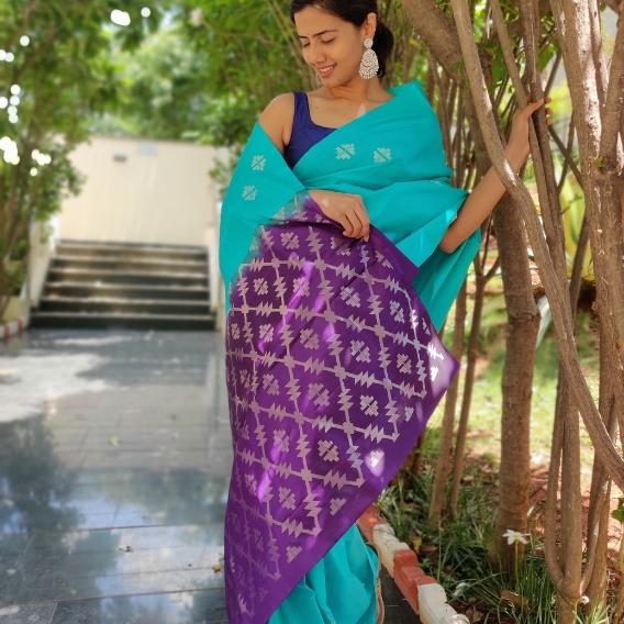 Cyan Blue Kanchivaram Silk Saree with Silver Zari Motifs