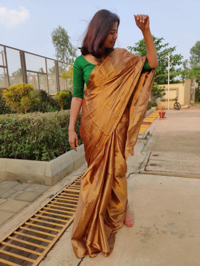 Molten Gold Tissue Silk Saree