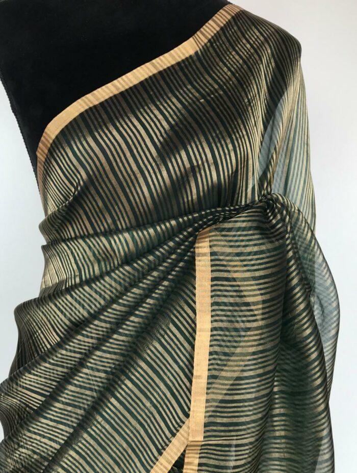 Amber Green Organza Silk Saree with Gold Zari Stripes