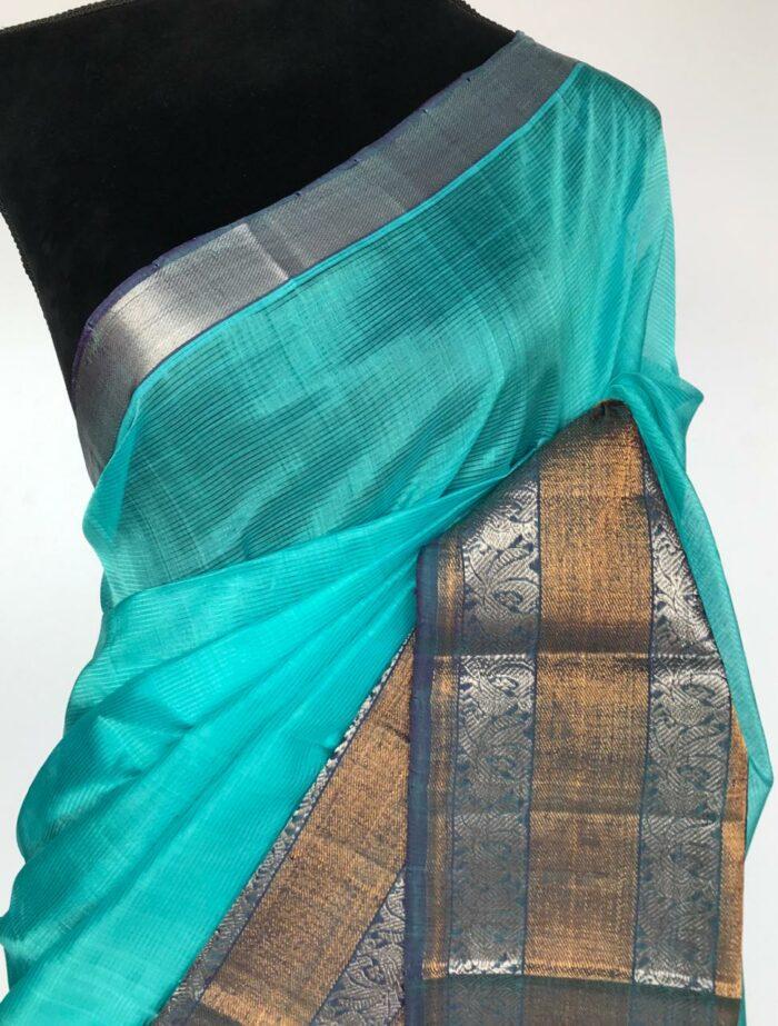 Turquoise Mangalagiri Silk Saree with Kanchi Silk Border