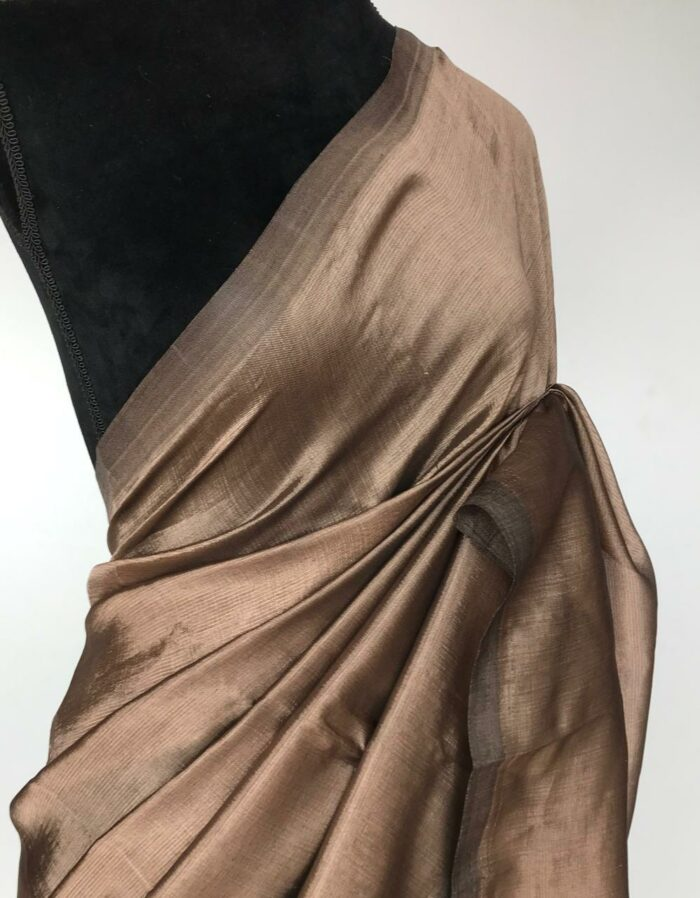 Metallic Brown Pure Mangalagiri Silk Saree