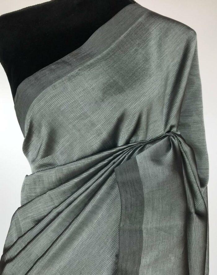 Grey Pure Mangalagiri Silk Saree
