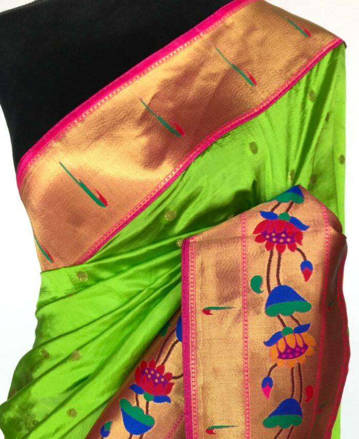 Parrot Green Banarasi Silk Saree with Paithani Weaves