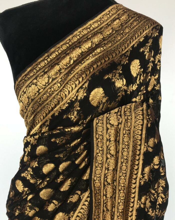 Black Banarasi Silk Saree in Georgette adorned with Gold Zari Motifs
