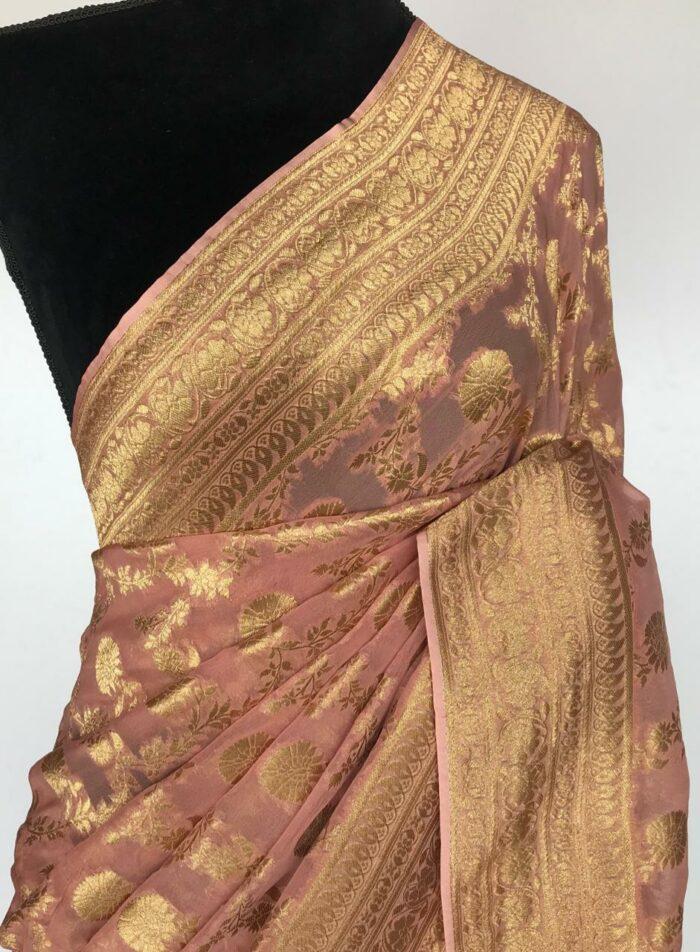 Peach Banarasi Silk Saree in Georgette adorned with Gold Zari Motifs