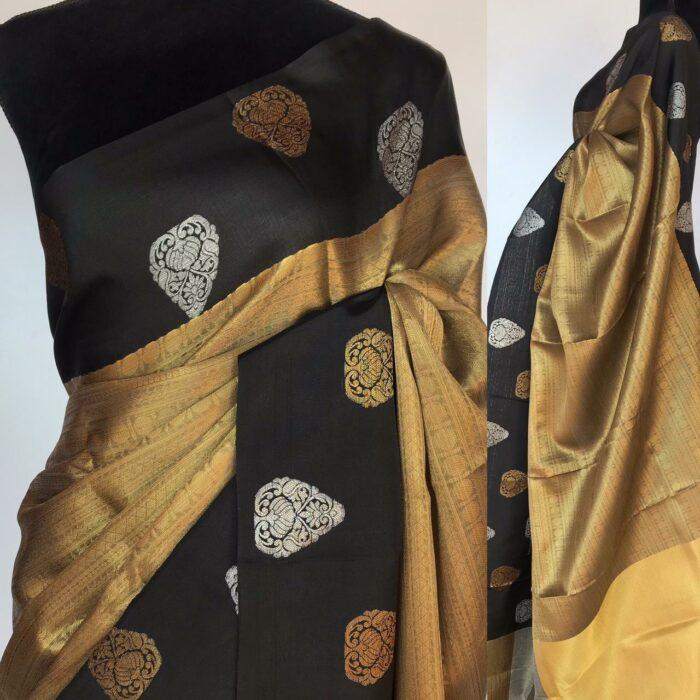 Gold Kora Silk Saree with Gold Zari Weaves