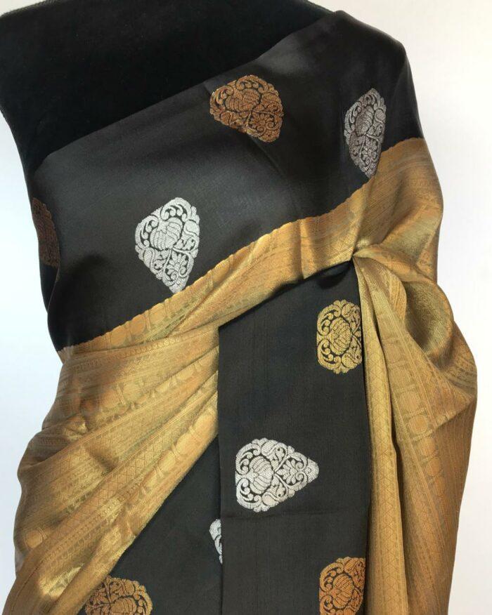Black Gold Kora Silk Saree with Gold Zari Weaves