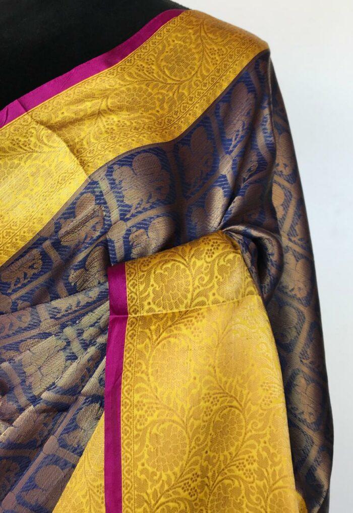 Ocean Blue Kora Silk Saree with Gold Zari Weaves