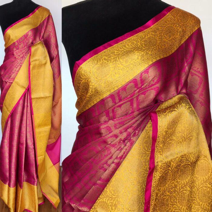Pink Kora Silk Saree with Gold Zari Weaves