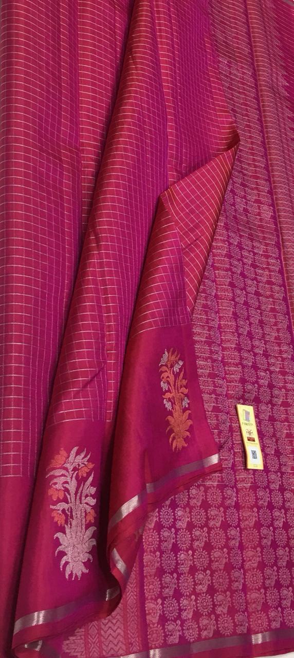 Hot Pink Kanjivaram Silk Saree with Silver Zari Checks and Silver Motifs