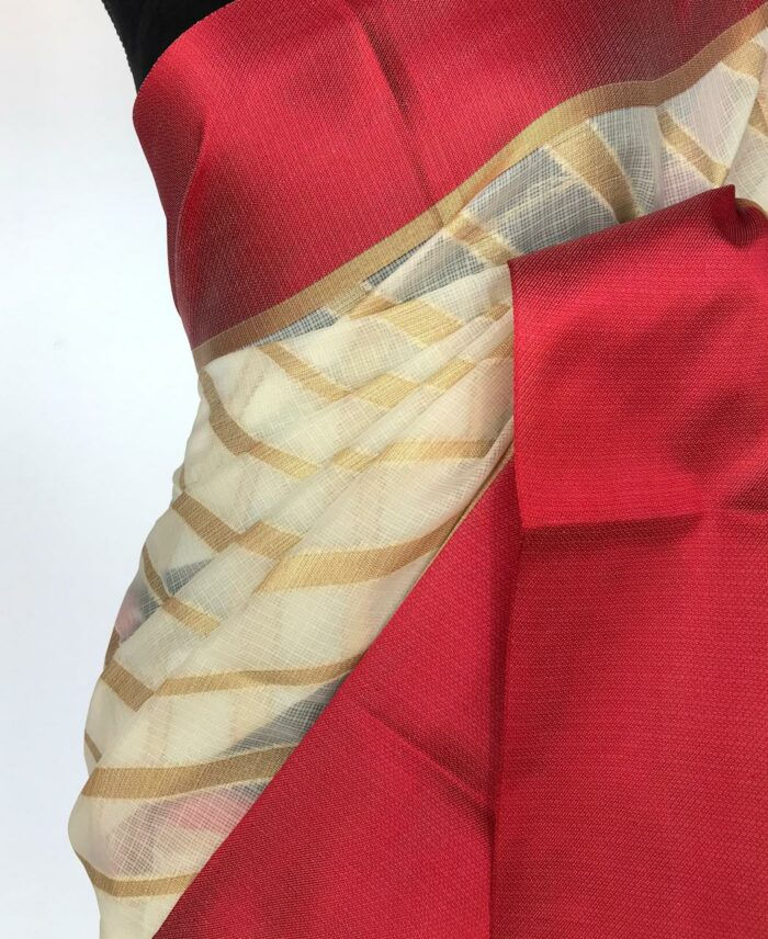 Ivory Kota Silk Saree with Gold Zari Weaves