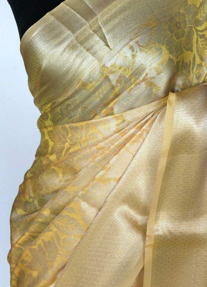 Butter Yellow Banarasi Silk Saree with Silver Zari Weaves