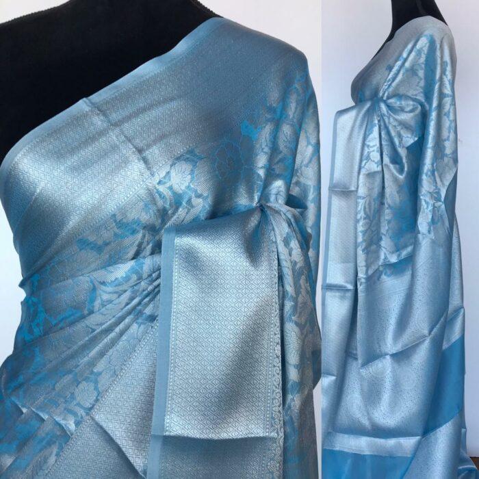 Blue Banarasi Silk Saree with Silver Zari Weaves
