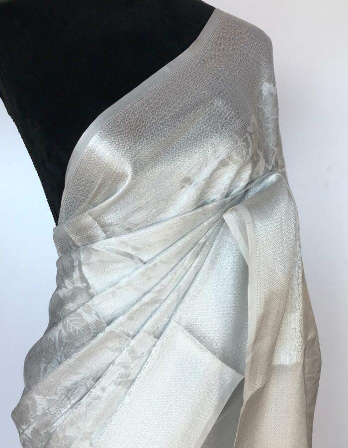 White Banarasi Silk Saree with Silver Zari Weaves