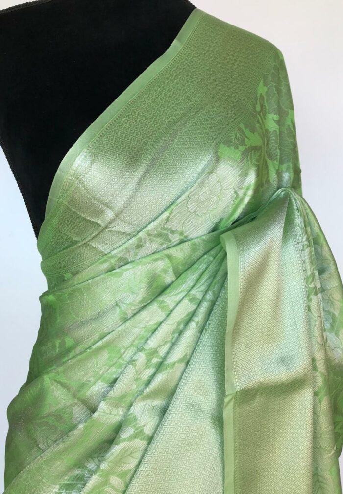 Light Green Banarasi Silk Saree with Silver Zari Weaves