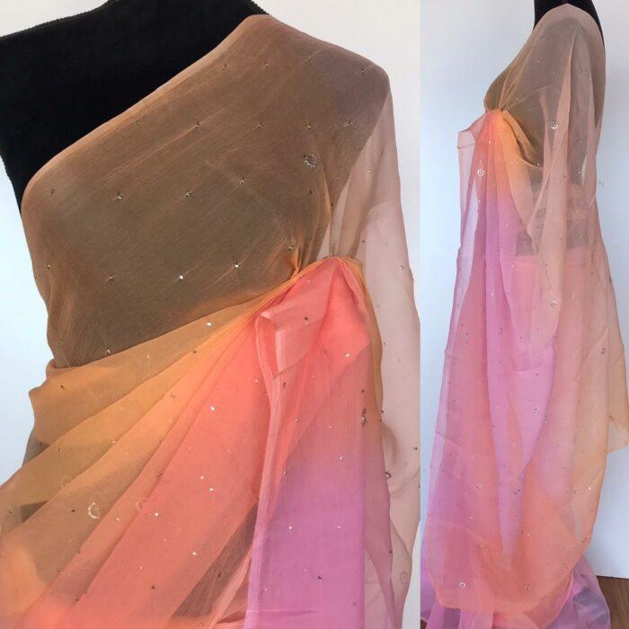 Peach Chiffon Saree with Badla work