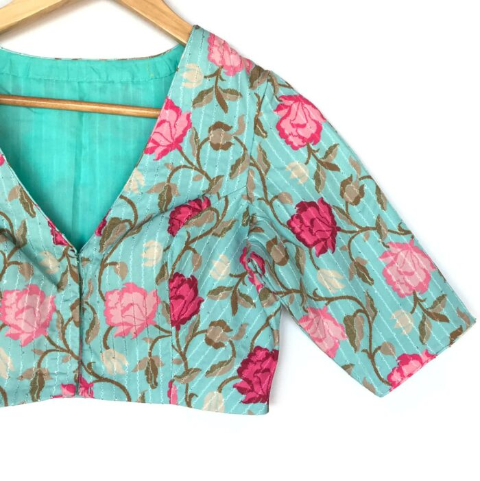 Blue Georgette Blouse With Embroidered Sequins