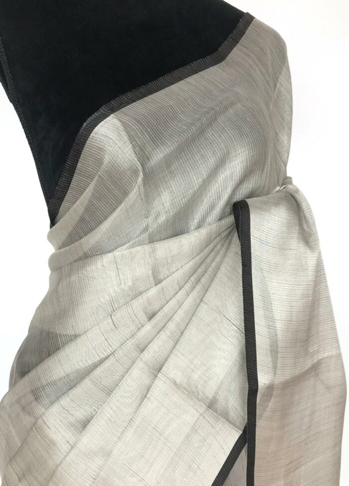 Silver Tissue Silk Saree with contrast piping