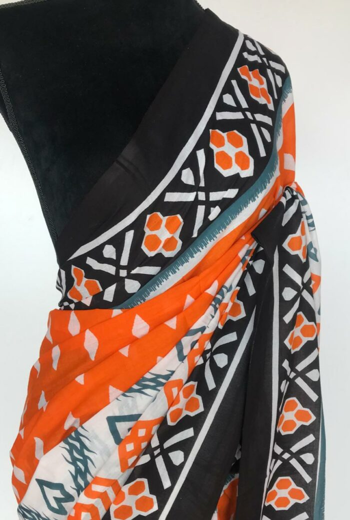 Orange Printed Mul Cotton Saree