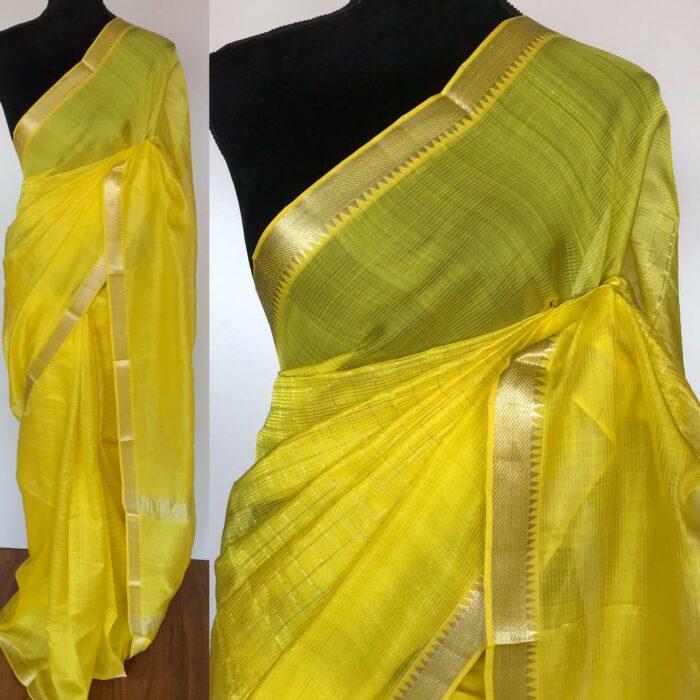 Lemon Yellow Mangalagiri Silk Saree with Gold Zari Checks