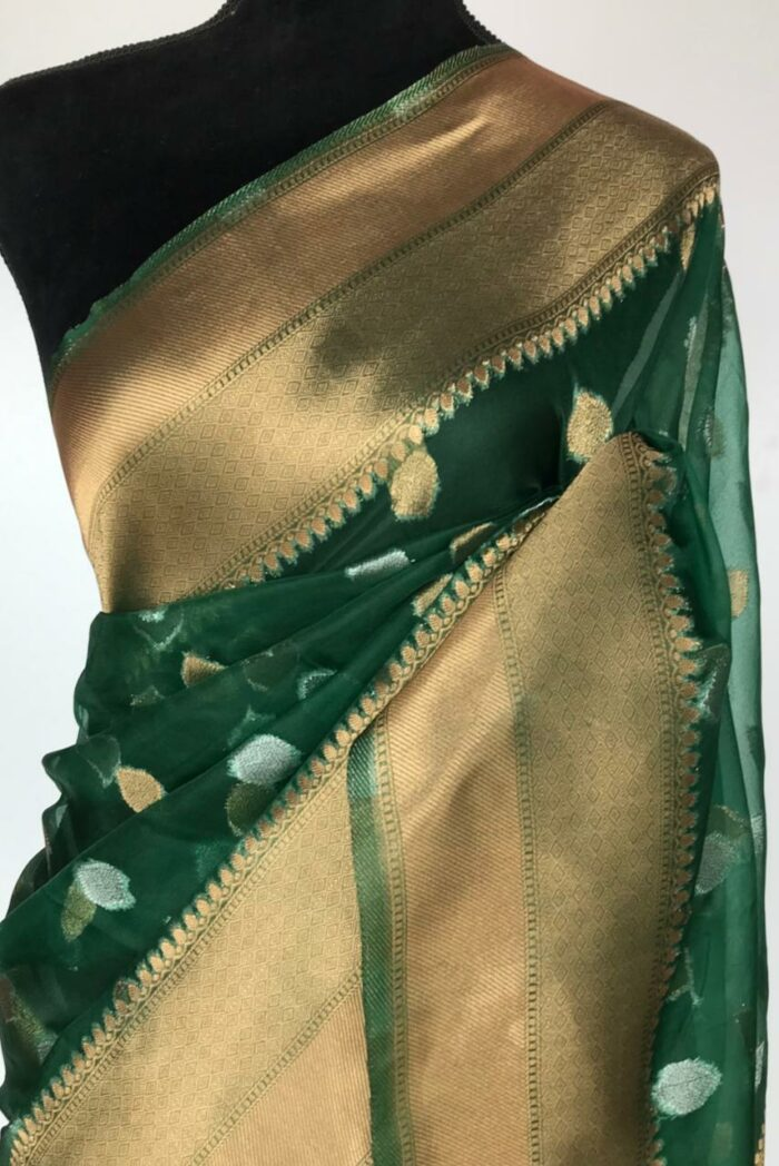 Bottle Green Organza Saree with Gold and Silver Zari Buttas