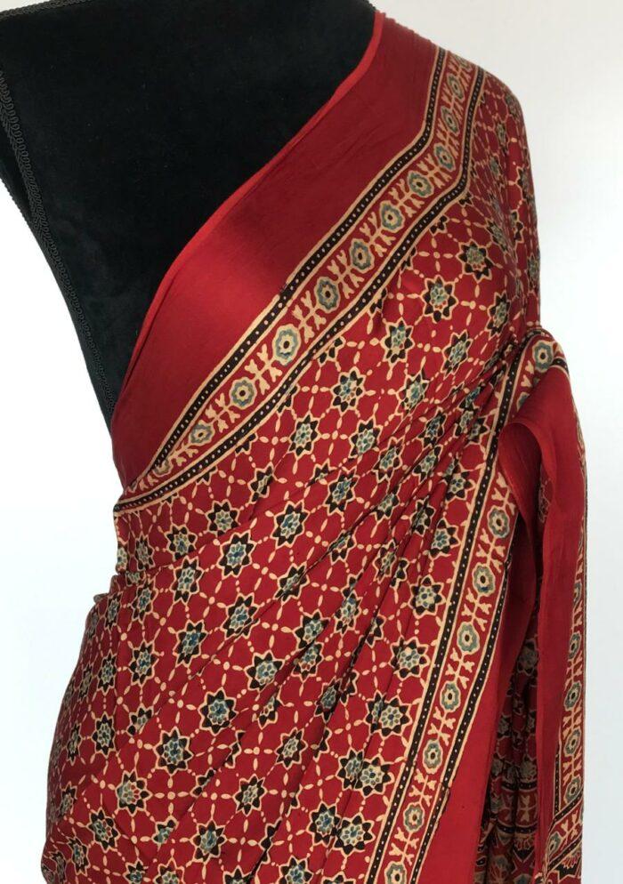 Red Modal Silk Saree with Ajrakh Hand Block Prints