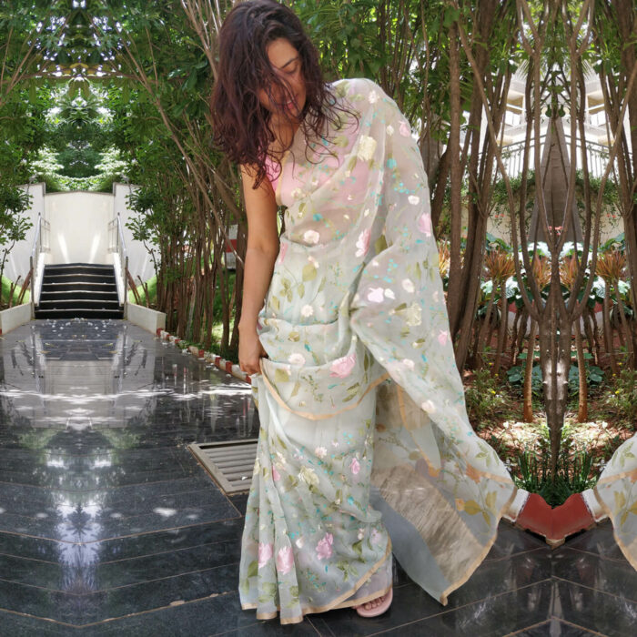 Baby Blue Organza Silk Saree with Beautiful Floral Embroidery