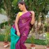 Magenta Purple Kanjivaram Silk Saree with Silver Zari Buttas