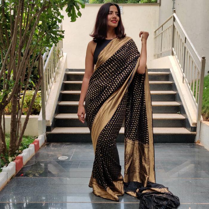 Black Banarasi Silk Saree In Georgette with woven zari motifs