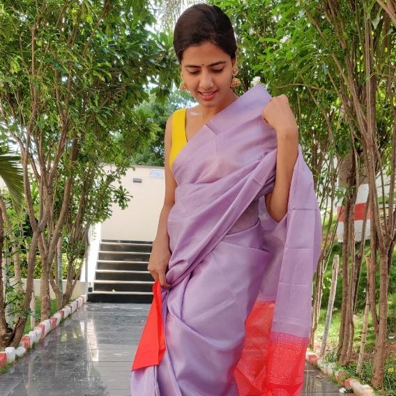 Lilac Kanjivaram Silk Saree with Silver Zari Weaves