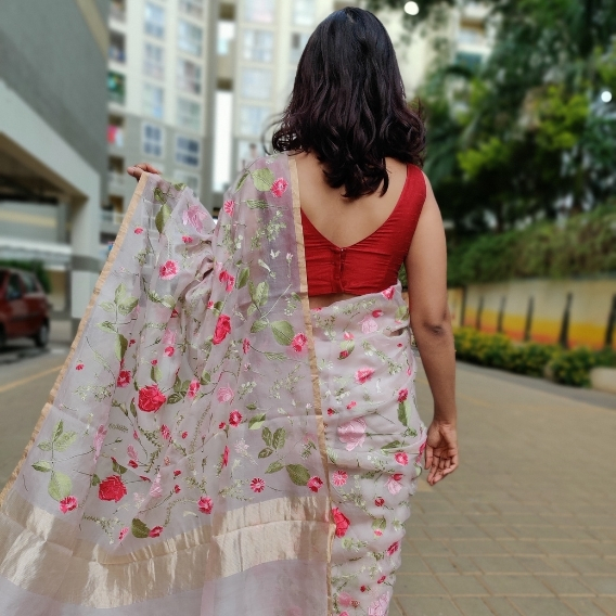 Baby Pink Organza Silk Saree with Beautiful Floral Embroidery
