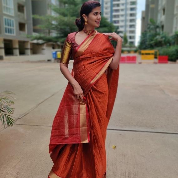 Copper Kanjivaram Silk Saree with Gold Zari Checks