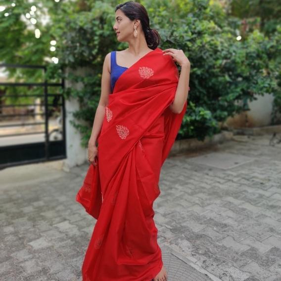 Scarlet Red Kanjiivaram Saree with Gold Zari Buttas